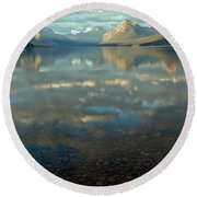 Montana Lonely Boat Round Beach Towel