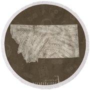 Montana Map Music Notes 3 Round Beach Towel