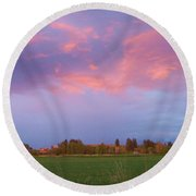 Montana Sunset 2 Round Beach Towel