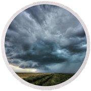 Montana Thunderstorm Round Beach Towel