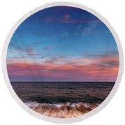 Montauk Pink Surf Round Beach Towel