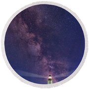 Montauk Point And The Milky Way Round Beach Towel