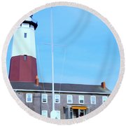 Montauk Point Light  Round Beach Towel
