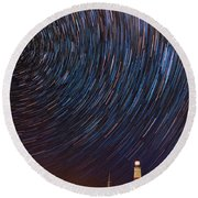 Montauk Star Trails Round Beach Towel