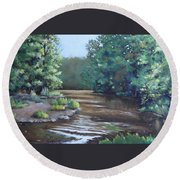 Montauk State Park In Missouri, Oil Round Beach Towel