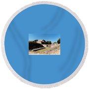 Monte Alban Ball Court Round Beach Towel