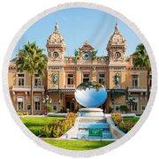 Monte Carlo Casino And Sky Mirror In Monaco Round Beach Towel