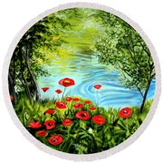 Monte Rio Poppies Round Beach Towel