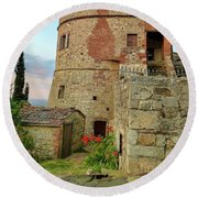 Montefollonico Stone Tower And Fortress Round Beach Towel