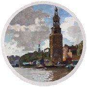 'montelbaanstoren' In Amsterdam By Cornelis Vreedenburgh Dutch 1880-1946 Round Beach Towel