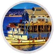 Monterey Bay Fishing Boat Round Beach Towel