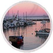 Monterey Bay Harbor Round Beach Towel