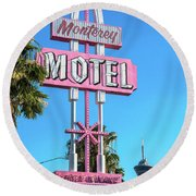 Monterey Motel Sign And The Stratosphere Round Beach Towel