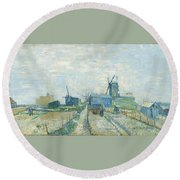 Montmartre   Mills And Vegetable Gardens, Paris Round Beach Towel