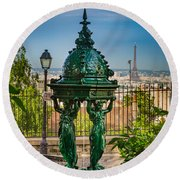 Montmartre Wallace Fountain Round Beach Towel