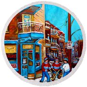 Montreal City Scene Hockey At Wilenskys Round Beach Towel