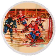 Montreal Forum Hockey Game Round Beach Towel