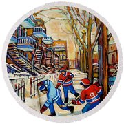 Montreal Hockey Game With 3 Boys Round Beach Towel