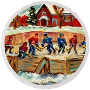 Montreal Hockey Rinks Urban Scene Round Beach Towel