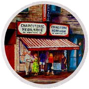 Montreal Paintings  Available For Fundraisers By Streetscene  Artist Carole Spandau  Round Beach Towel