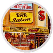 Montreal Paintings Dunns Restaurant Streets Of Montreal Round Beach Towel