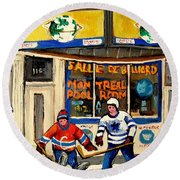 Montreal Poolroom Hockey Fans Round Beach Towel