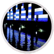 Montreal Port Night Round Beach Towel