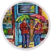 Montreal Rainy Day Paintings April Showers Umbrella Conversation At Wilensky's Deli C Spandau Quebec Round Beach Towel