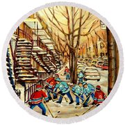 Montreal Street Hockey Paintings Round Beach Towel
