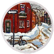 Montreal Street In Winter La Ville En Hiver Buy Montreal Paintings Petits Formats Peintures A Vendre Round Beach Towel