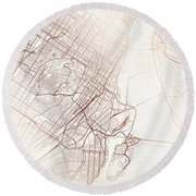 Montreal Street Map Colorful Copper Modern Minimalist Round Beach Towel