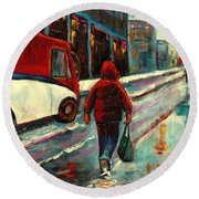 Montreal Streets Winter Morning Round Beach Towel