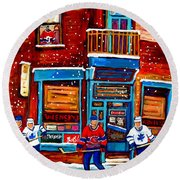 Montreal Wilensky Deli By Carole Spandau Montreal Streetscene And Hockey Artist Round Beach Towel