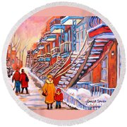 Montreal Winter Walk Round Beach Towel