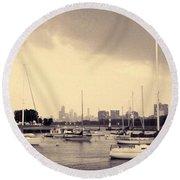 Montrose Harbor Skyline Round Beach Towel