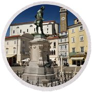 Monument And Statue Of Giuseppe Tartini At Tartini Square Piran  Round Beach Towel
