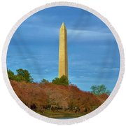 Monument Blossoms, Japanese Cherry Blossom Trees With The Washington Monument In The Background Round Beach Towel