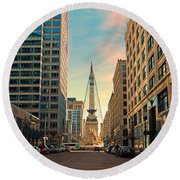 Monument Circle - Indianapolis Round Beach Towel