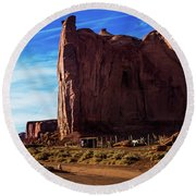 Monument Valley Corral Round Beach Towel
