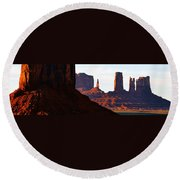 Monument Valley Pano Work D Round Beach Towel