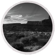 Monument Valley View - Black And White Round Beach Towel