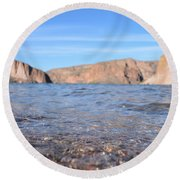 Monuments On Water Round Beach Towel