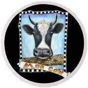 Moo Cow In Black Round Beach Towel