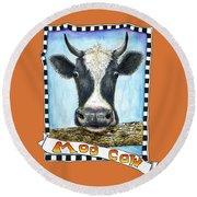 Moo Cow In Orange Round Beach Towel