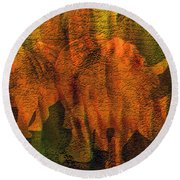 Moods Of Africa - Rhinos Round Beach Towel