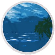 Moods Of The Sea Surreal Round Beach Towel