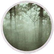 Moody Foggy Forest Round Beach Towel