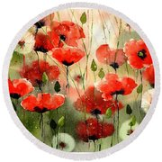Moody Poppies In The Afternoon Round Beach Towel