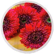 Moody Red Gerbera Dasies Round Beach Towel