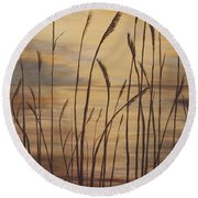 Moody Sunset Round Beach Towel